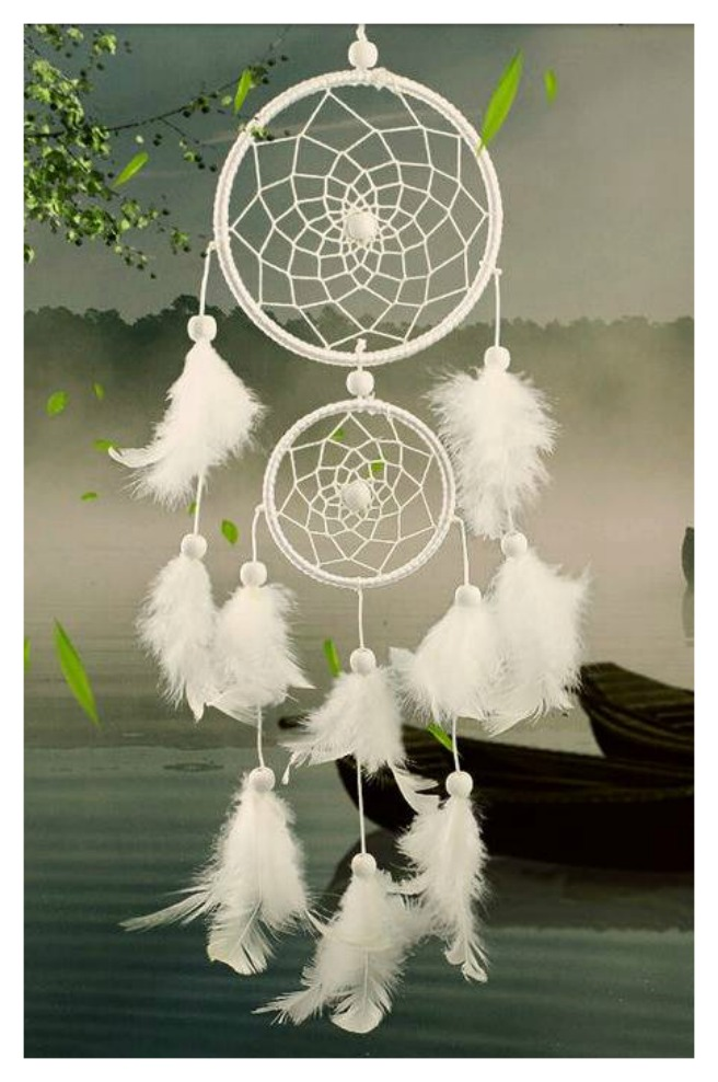 DREAM CATCHER  White Feather Ornament wall hanger