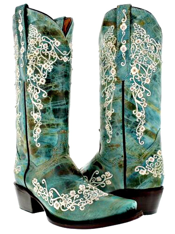 RHINESTONE COWGIRL BOOTS Crystal Studded Floral Embroidery Turquoise GENUINE LEATHER Snip Toe Western Boots Sizes 5-11