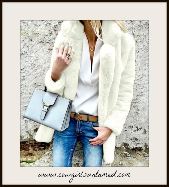 GOING GLAM COAT  White Faux Fur Lined Oversized Coat  Misses/Plus