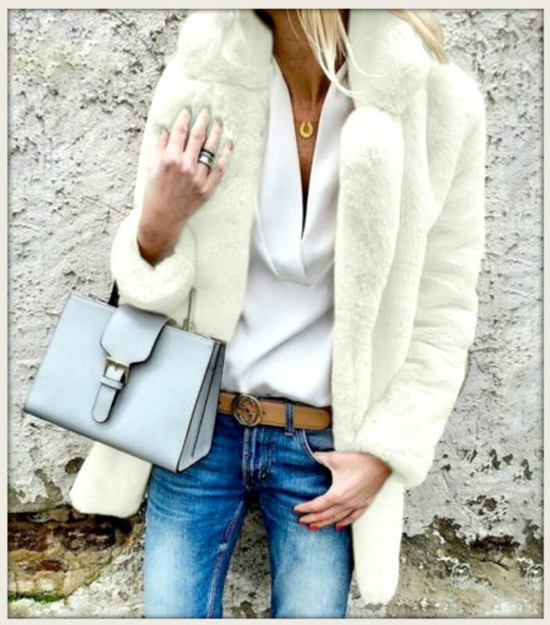GOING GLAM COAT  White Faux Fur Lined Oversized Coat  Misses/Plus