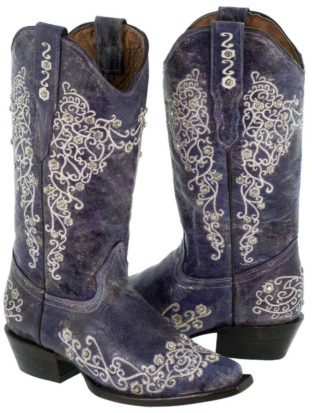 THE LEGACY BOOT White Floral Embroidery Crystal Studded Distressed Purple Genuine Leather Cowgirl Boots 5-9.5