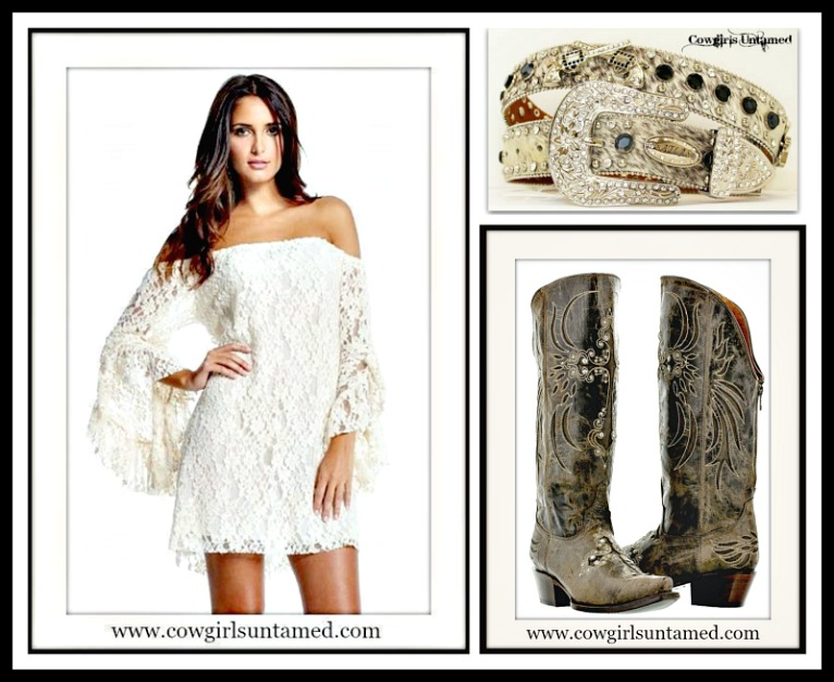 Cowgirl Gypsy White Stretchy Lace Off The Shoulder Long Sleeve Western Mini Dress Tunic Top White Stretchy Lace Mini Dress White Lace Mini Dress