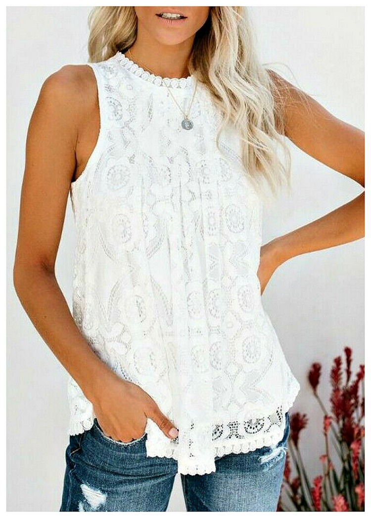 SWEET NOTHINGS TOP High Neck Sleeveless White Lace Boho Blouse 2 LEFT M or L
