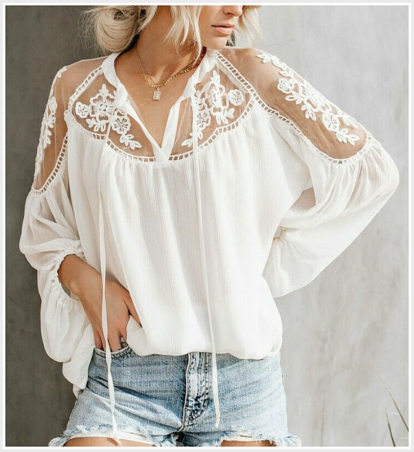 THE CHELSEA TOP White Floral Crochet Lace on Sheer Shoulder Long Sleeve Boho Blouse