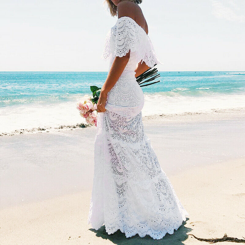 THE SEYCHELLES DRESS Off the Shoulder Flounce Neckline White Lace Boho Fitted Maxi Party Dress S-XL