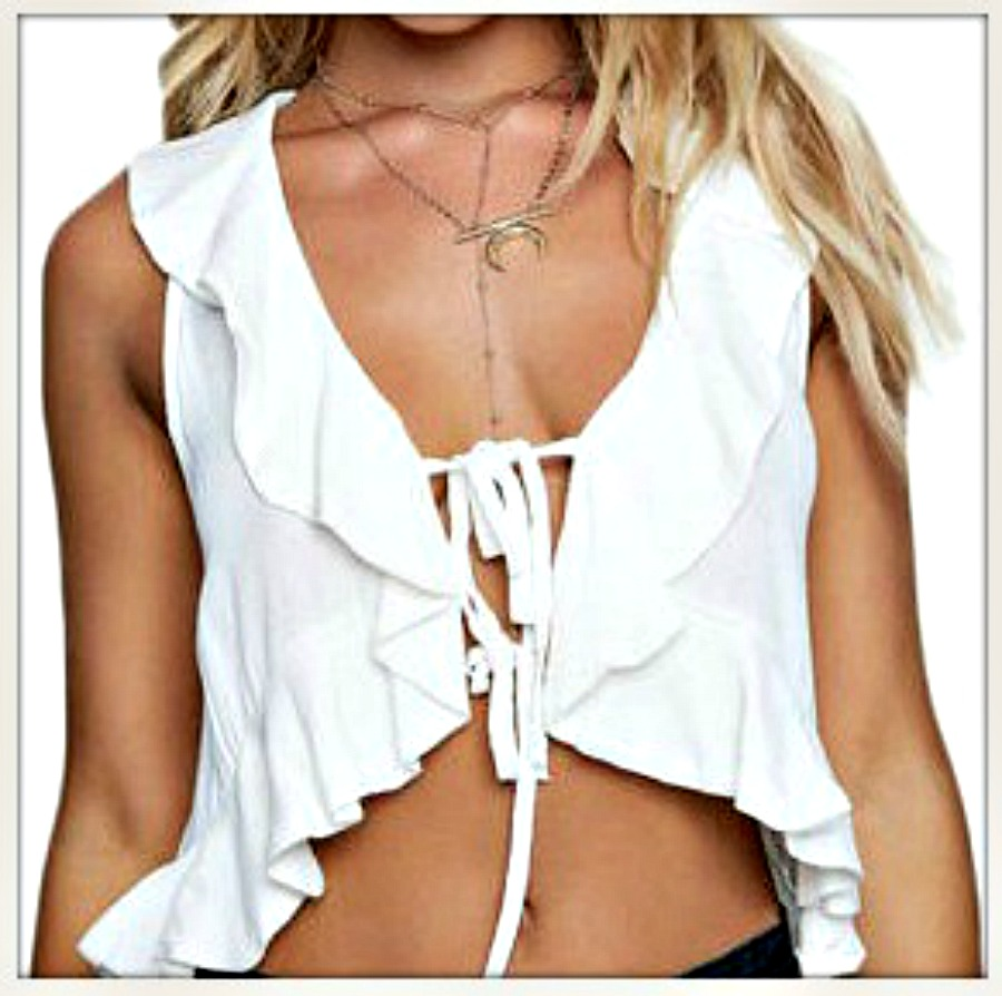 WILDFLOWER TOP White Ruffle Hem Tie Front White Top / Vest