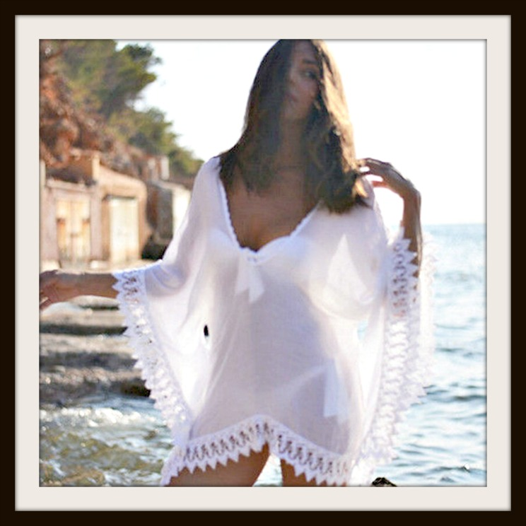 COWGIRL GYPSY COVER UP White Lace Trim Sheer Chiffon Poncho Cover Up