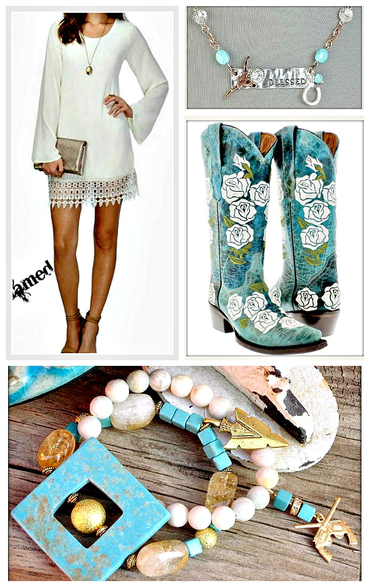 COWGIRL GYPSY DRESS Long Bell Sheer Sleeve White Chiffon Lace Hem Mini Dress