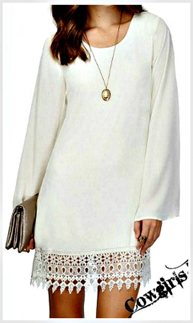 THE MALLORIE DRESS Long Bell Sheer Sleeve White Chiffon Lace Hem Mini Dress