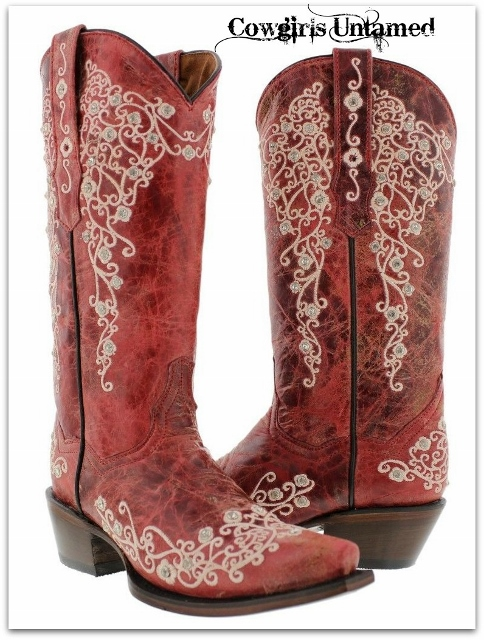 COWGIRL STYLE BOOTS Rhinestone Studded White Floral Embroidery on RED GENUINE LEATHER Snip Toe Western Boots