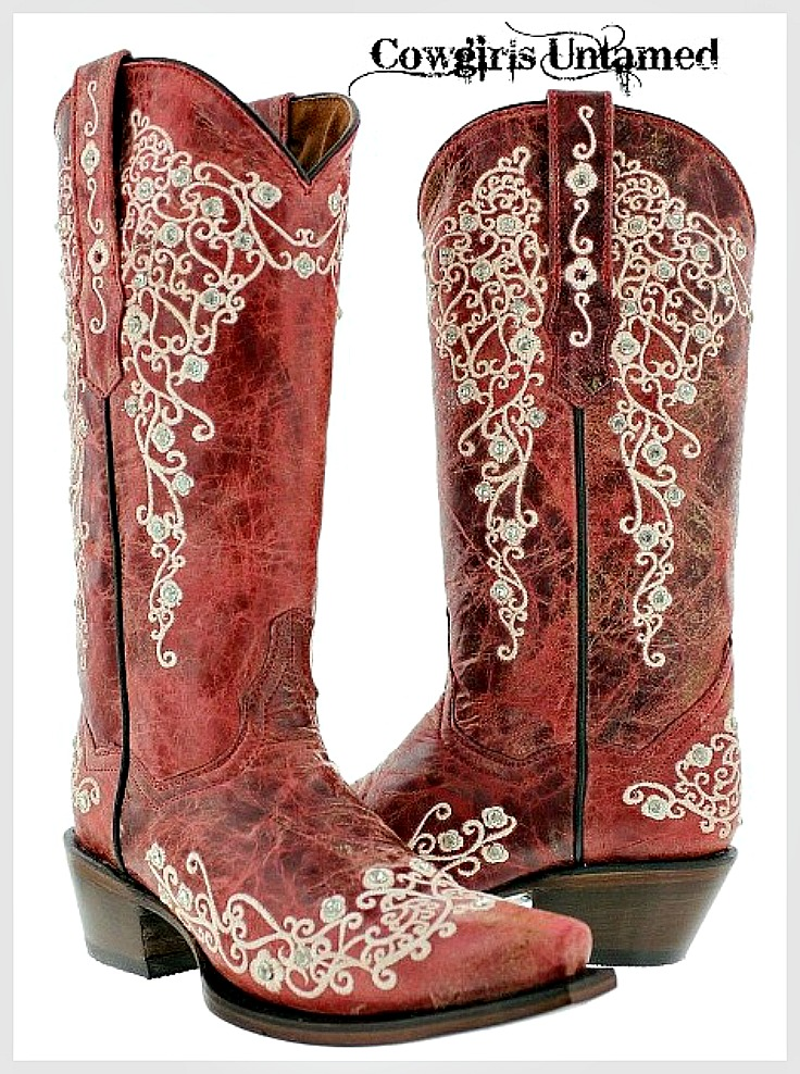 COWGIRL STYLE BOOTS Rhinestone Studded Floral Embroidery Red GENUINE LEATHER Boots