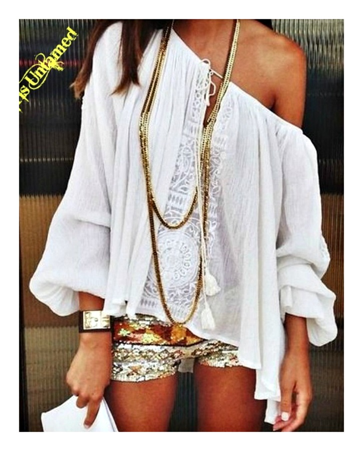 WILDFLOWER TOP White Lace & Chiffon On or Off The Shoulder Loose Fit Peasant Style Boho Top LAST ONE S/M