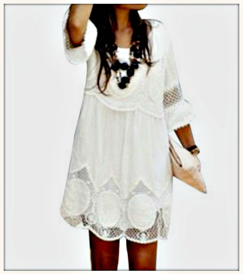 VINTAGE COWGIRL DRESS White Lace 3/4 Sleeve Hollow  Scalloped Hem Dress