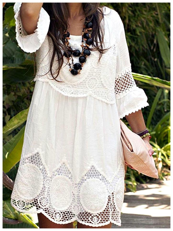 THE ANOUK DRESS White Lace 3/4 Sleeve Scalloped Hem Boho Summer Dress S-3X ONLY 4 left!