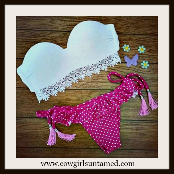 WILDFLOWER BIKINI White Lace Trim Padded Underwire Bandeau Top Pink Polka Dot String Bikini with Tassel