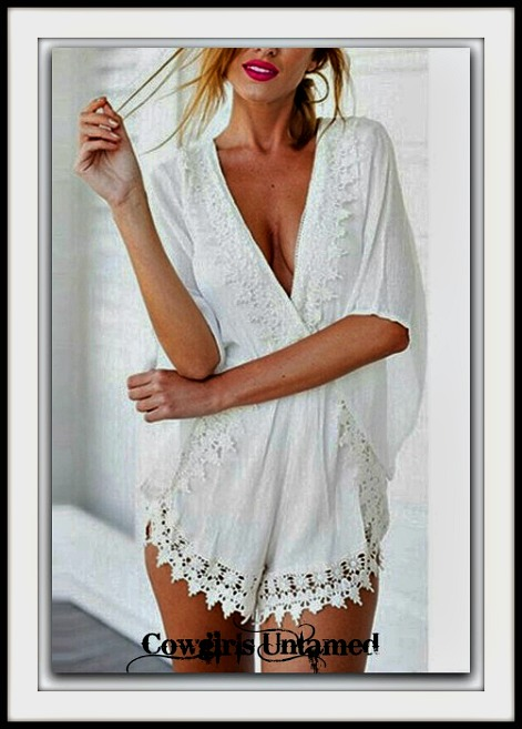 WILDFLOWER ROMPER White Lace Crochet Trim Deep V Neck Boho Shorts Romper Cover Up