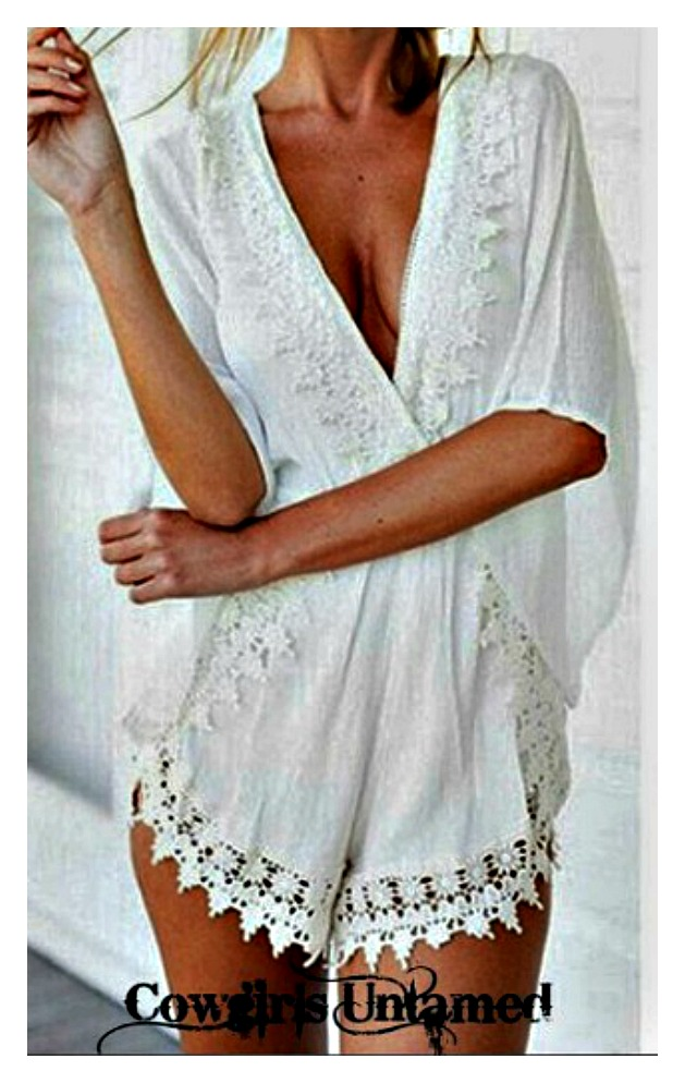 WILDFLOWER ROMPER White Lace Crochet Trim Deep V Neck Boho Shorts Romper Cover Up LAST ONE - L