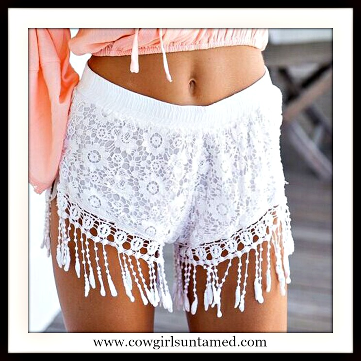 COWGIRL GYPSY SHORTS White Lace Elastic Waist Crochet Fringe Boho Shorts