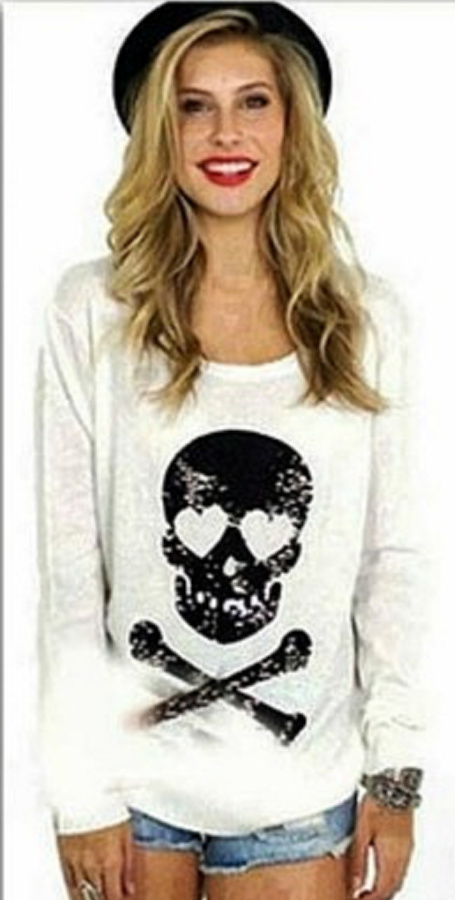 WILDFOX SWEATER Black Sequin Skull N' Crossbones on Slouchy Knit Fur Designer Sweater ONLY 2 LEFT L/XL!