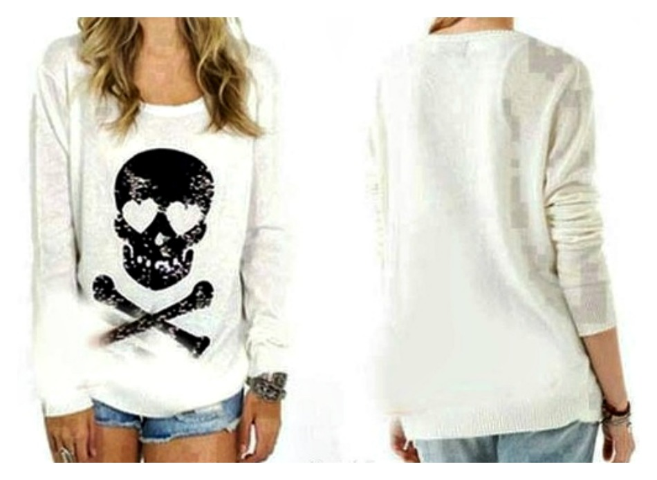 WILDFOX SWEATER Black Sequin Skull N' Crossbones on Slouchy Knit Fur Designer Sweater