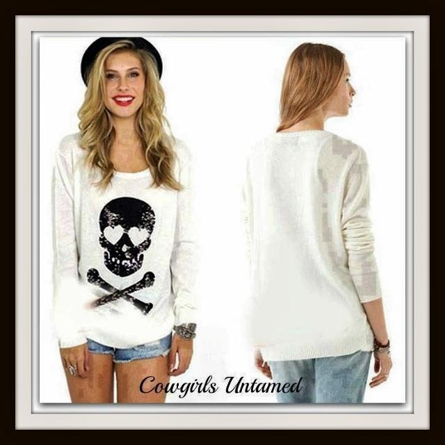 DESIGNER SWEATER Black Sequin Skull N' Crossbones on Slouchy Knit Fur Designer Sweater