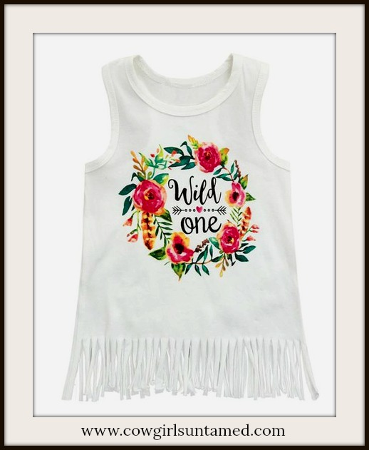 """LITTLE COWGIRL DRESS Floral Print """"Wild One"""" White Fringe Baby Dress"""