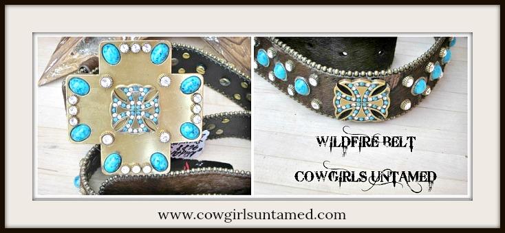 COWGIRL BELT Brown Cowhide Rhinestone Swarovski Crystals Cross Bling Designer WILDFIRE Western Belt