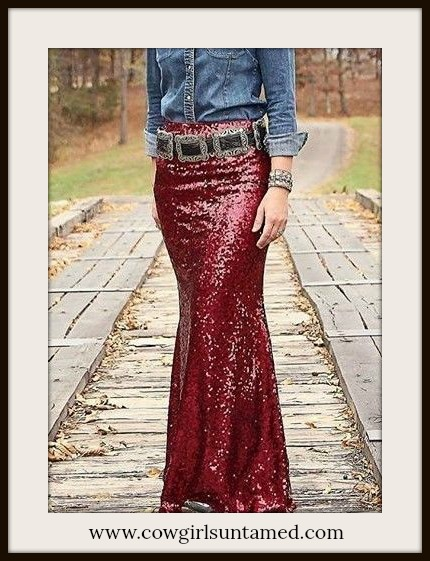 COWGIRL GYPSY SKIRT Red Wine Sequin Long Maxi Skirt