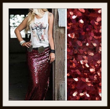 Red Wine Sequin Long Maxi Skirt, wine, burgundy, red, long ...