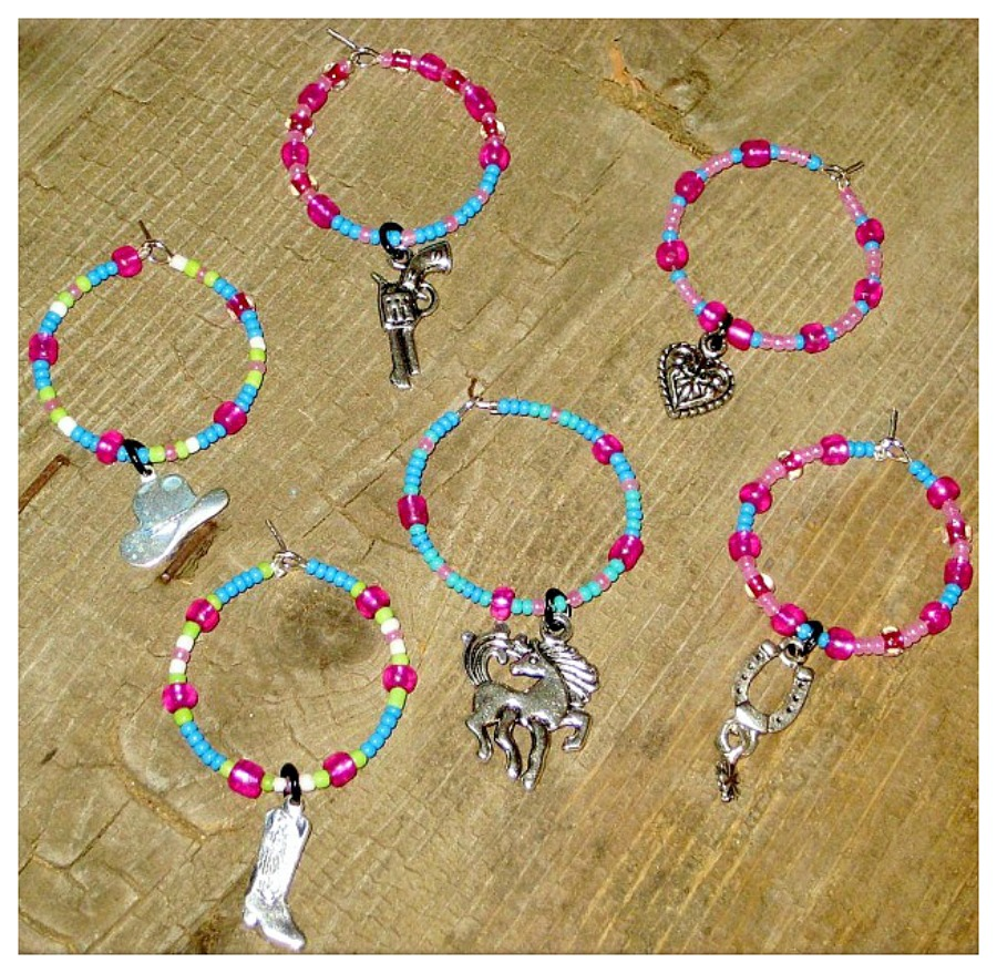 COWGIRL STYLE DECOR Lime Green Blue Pink N White Wine Charms