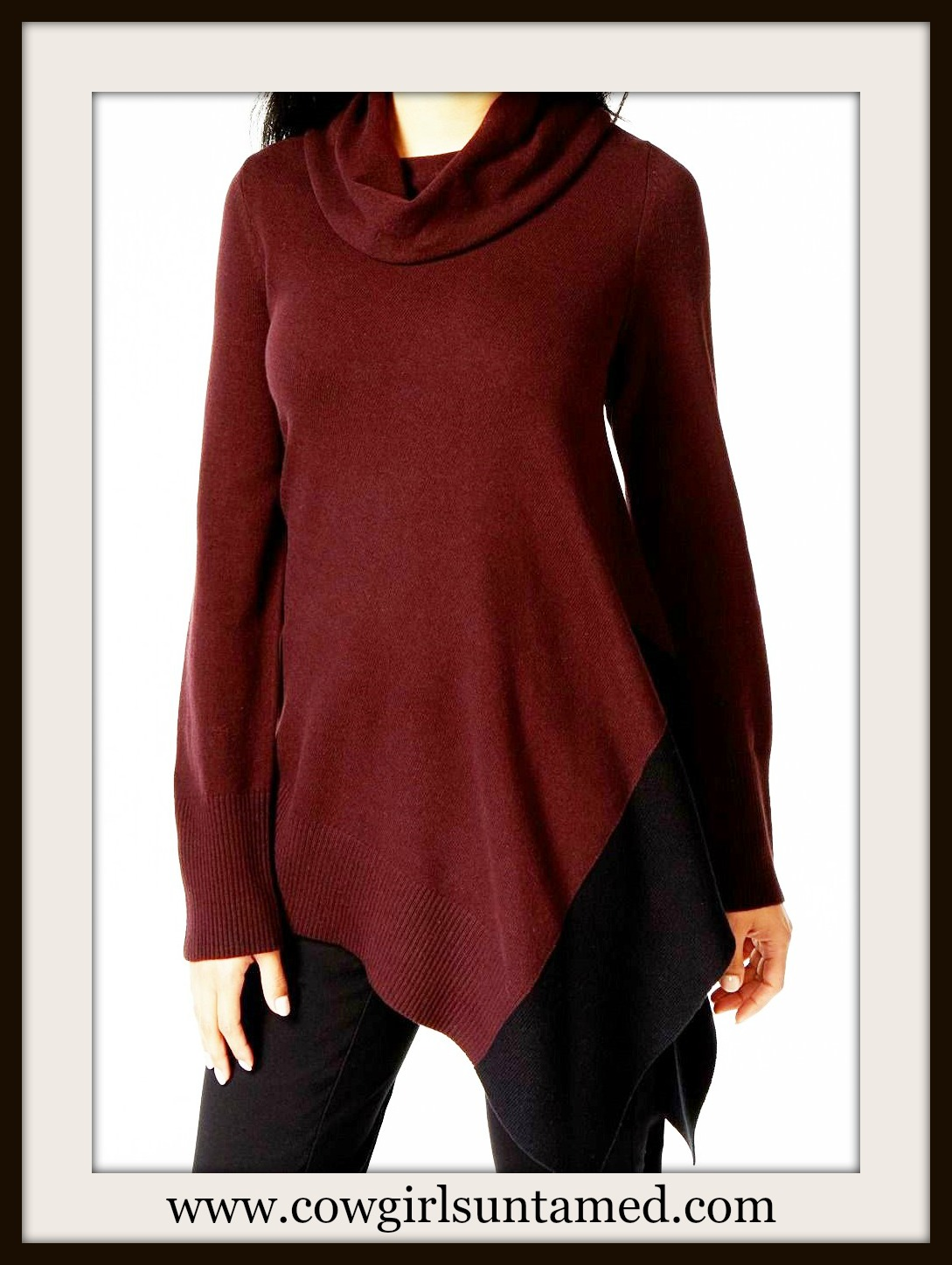 DESIGNER SWEATER Wine and Black Cowl Neck Asymmetrical Hem Designer Tunic Sweater