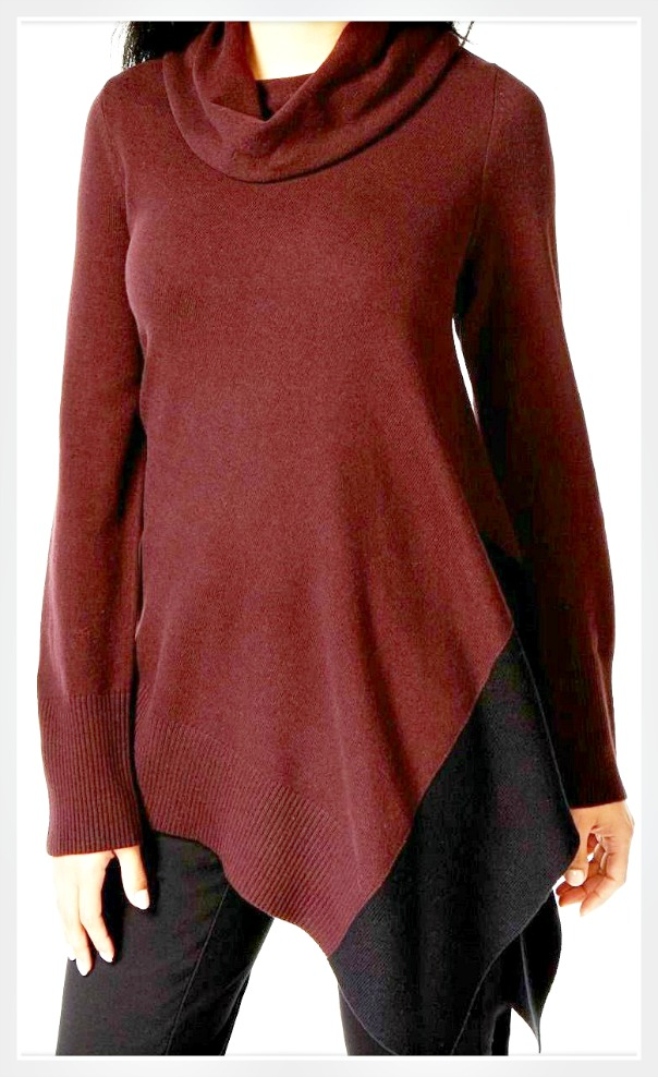 35a6a20ecf9 Wine and Black Cowl Neck Asymmetrical Hem Oversized Designer Tunic Sweater