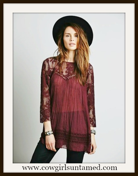 WILDFLOWER TOP Wine Lace and Cotton 3/4 Sleeve Boho Top