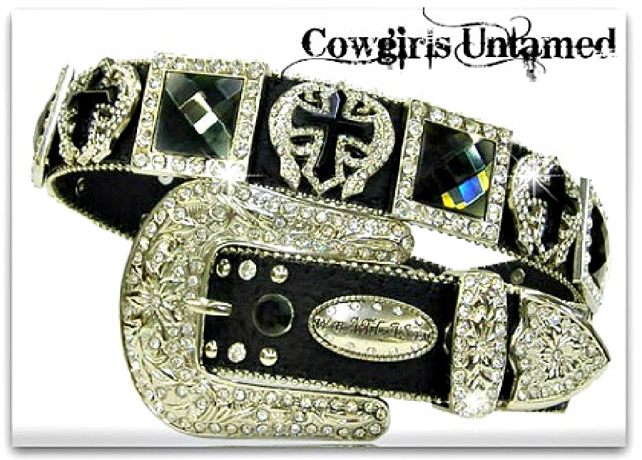 RODEO REBEL BELT Silver Angel Wing Cross Black Crystal Concho Black Leather Western Belt LAST ONE M