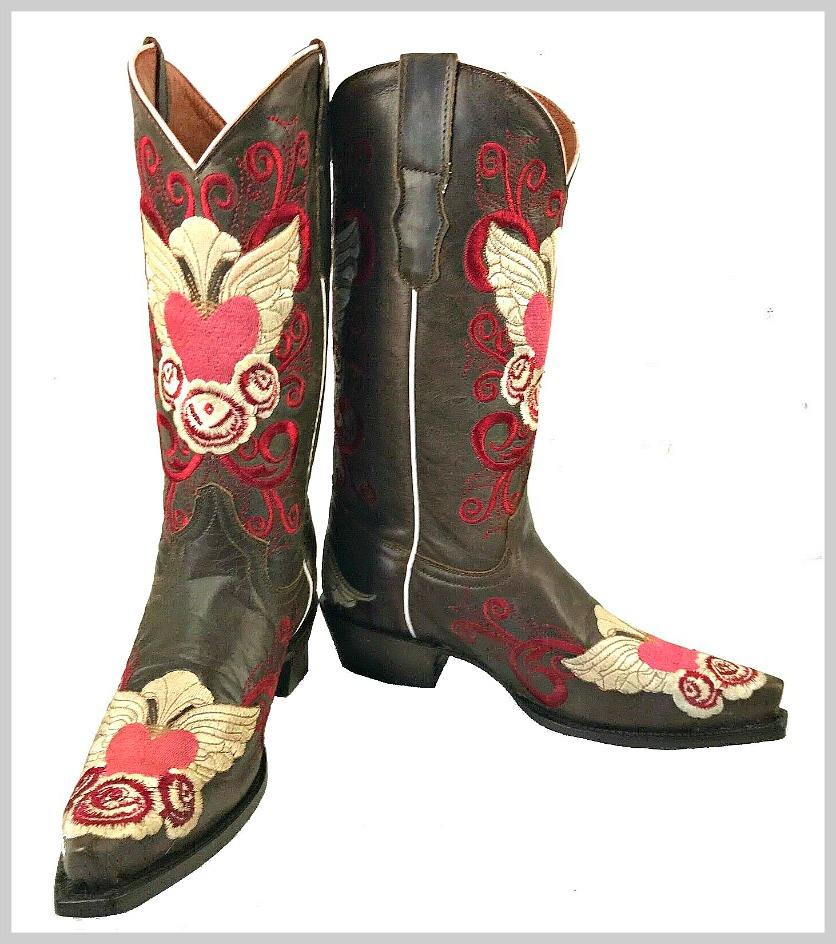 J'ADORE BOOTS Pink Red Cream Embroidered Winged Heart Brown Genuine Leather Cowgirl Boots Size 5-9.5