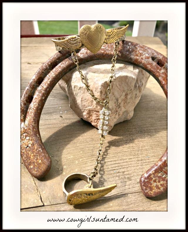 COWGIRL GYPSY BRACELET  Wings of Freedom Rhinestone Golden Slave Bracelet