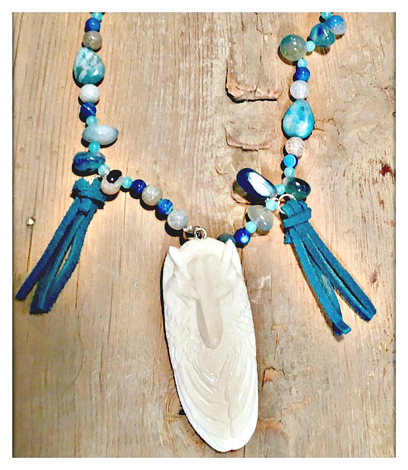 GYPSY SOUL NECKLACE Bone Carved Wolf Turquoise Tassel Pendant on Blue Gemstone Boho Necklace