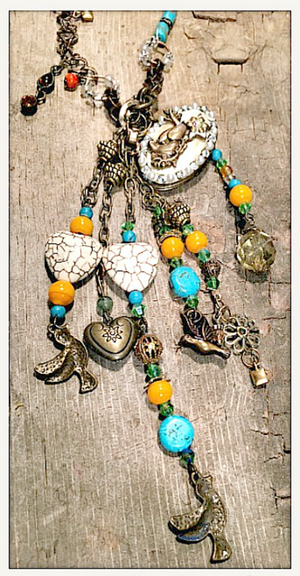VINTAGE COWGIRL NECKLACE Custom Antique Bronze Lovebird and Charms on Beaded and Chain Necklace