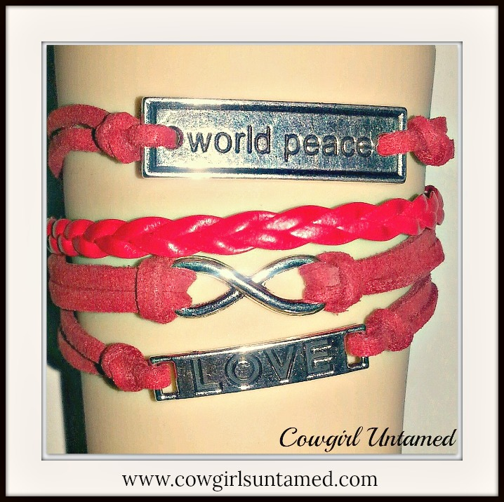 "COWGIRLS ROCK CHARM BRACELET Silver ""World Peace""  Infinity Believe on Red Leather Bracelet"