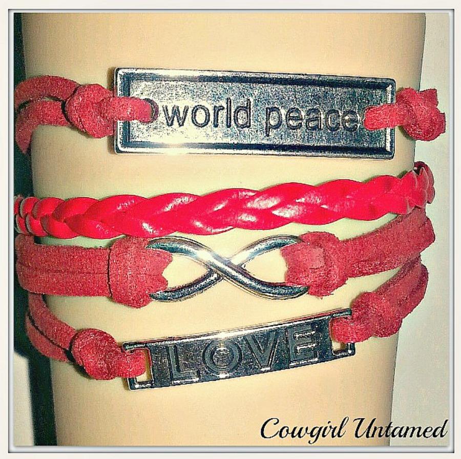 "COWGIRLS ROCK CHARM BRACELET Silver ""World Peace""  Infinity Believe on Red Leather Bracelet  LAST ONE"