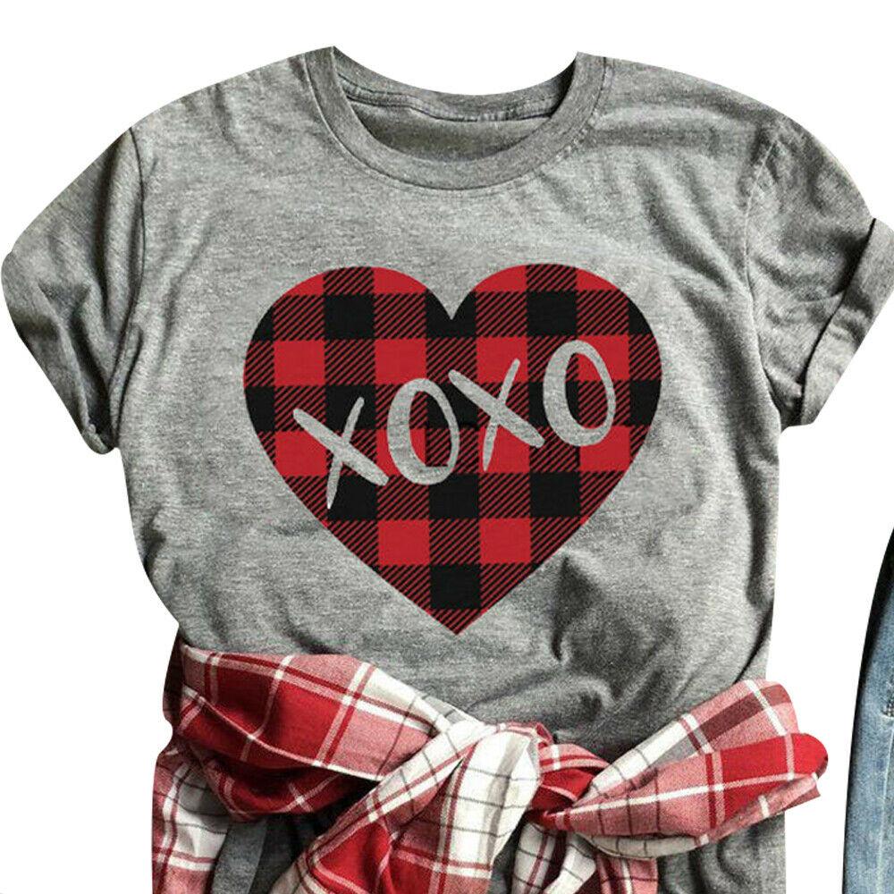 VALENTINES DAY TEE Red Black Plaid XOXO Heart Grey Short Sleeve T-Shirt M-3X