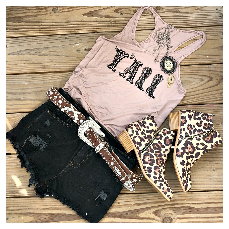 """COWGIRL STYLE TANK TOP """"Y'all"""" Black Cowgirl Boots on Khaki Racerback Tank Top"""