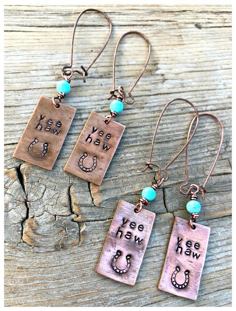 """YEE HAW EARRINGS Handmade """"Yeehaw"""" Horseshoe Copper & Turquoise Western Dangle Earrings"""