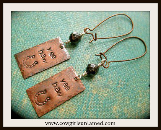 "COWGIRL ATTITUDE EARRINGS ""Yeehaw"" with Stamped Horseshoe Copper Black Bead Western Earrings"