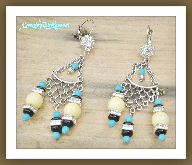 WILDFLOWER EARRINGS Turquoise & Yellow Coral Gemstone Rhinestone Antique Silver Long Earrings