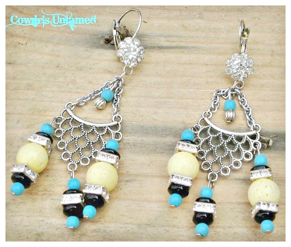 WILDFLOWER EARRINGS Turquoise & Yellow Coral Gemstone Rhinestone Antique Silver Long Earrings