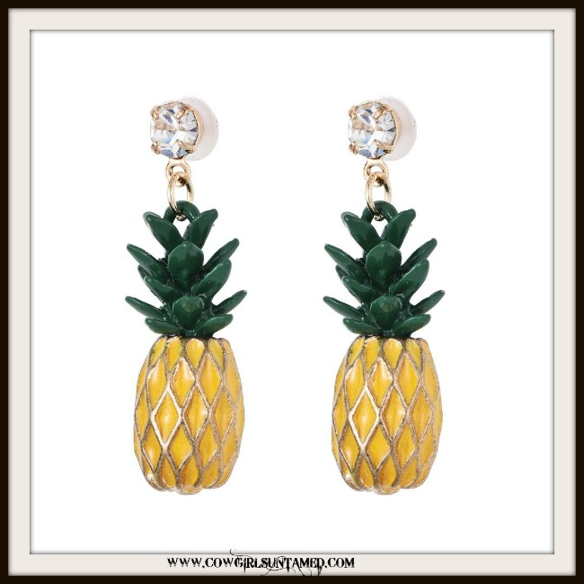 SOUTHERN BELLE EARRINGS Yellow Pineapple and Rhinestone Earrings