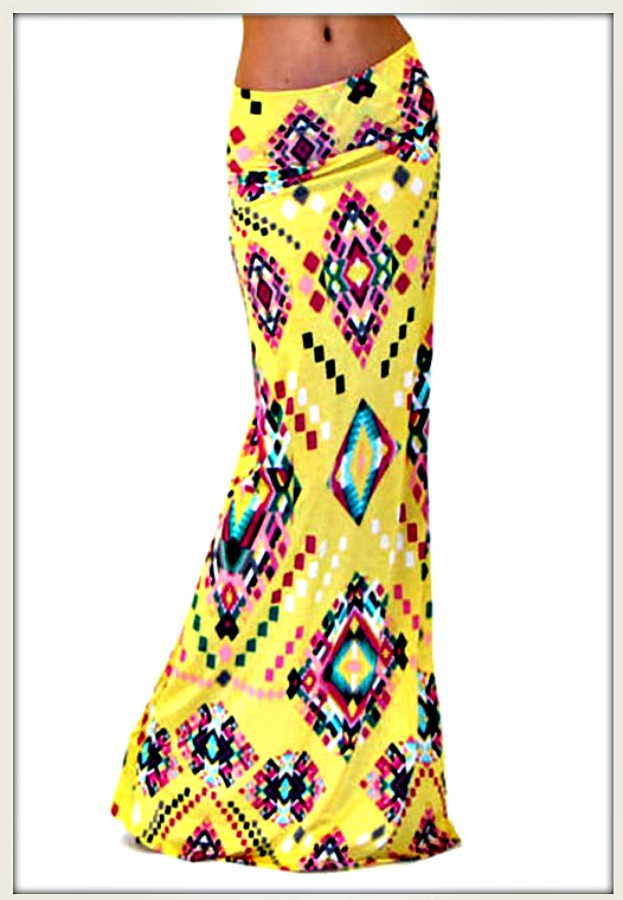 COWGIRL GYPSY SKIRT Multi Color Geometric Aztec Long A-Line Yellow Boho Stretchy Maxi Skirt LAST ONE S