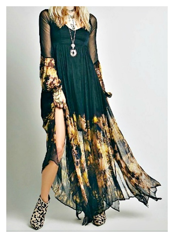 edacab97871 WILDFLOWER DRESS Yellow Sunflowers on Black Chiffon Long Sleeve Boho ...