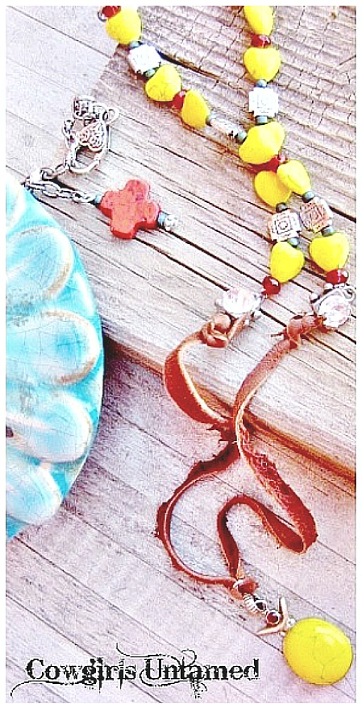 COWGIRL GYPSY NECKLACE Yellow Turquoise & Red Garnet Sterling Silver Pendant Brown LEATHER Necklace